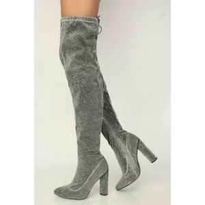Shimmery Silver Glitter Thigh High Boots
